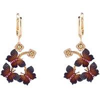 Золотые серьги Roberto Bravo Global Warming с коричневыми бабочками и цветами, фото