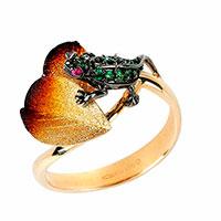 Кольцо Roberto Bravo Global Warming золотое с лягушкой , фото