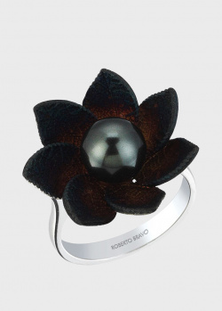 Кольцо Roberto Bravo Global Warming с цветком и жемчугом, фото