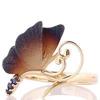 Золотое кольцо Roberto Bravo Global Warming с маленькой бабочкой и синими сапфирами, фото