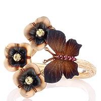 Золотое рельефное кольцо Roberto Bravo Global Warming с коричневой бабочкой и цветами, фото