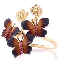 Золотое рельефное кольцо Roberto Bravo Global Warming с коричневыми бабочками на цветах, фото