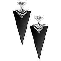 Треугольные серьги Thomas Sabo с ониксом, фото