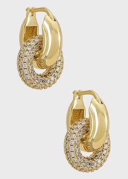 Двойные серьги-кольца Luv Aj The Pave Interlock, фото