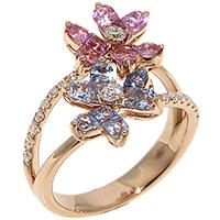 Кольцо с цветочками D-Donna Ruggero Broggian Aurora из розового золота с бриллиантами и сапфирами, фото