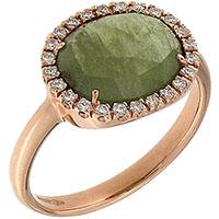 Кольцо D-Donna Ruggero Broggian Aida Flat из белого золота с овальным сапфиром зеленого цвета и бриллиантами, фото