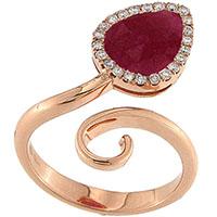 Кольцо с розовым сапфиром и бриллиантами D-Donna Ruggero Broggian Aida Flat из розового золота, фото