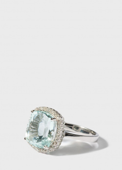 Перстень Gemmis с бриллиантами и аквамарином, фото