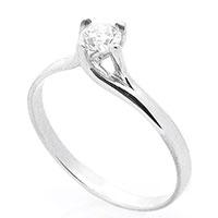 Кольцо с бриллиантом из белого золота, фото