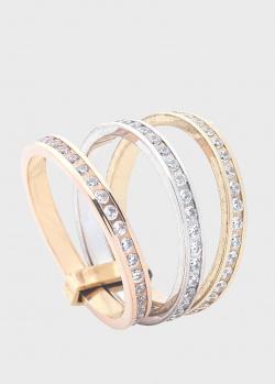 Тройное кольцо из золота трех цветов, фото