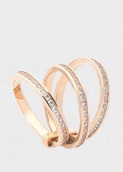 Золотое тройное кольцо с дорожками из фианита, фото