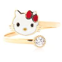 Золотое кольцо Hello Kitty с вставкой эмали, фото