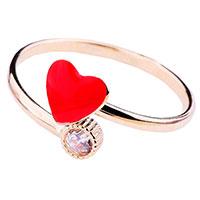 Кольцо из красного золота Сердечко, фото