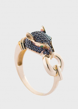 Золотое кольцо Пантера в черных фианитах, фото
