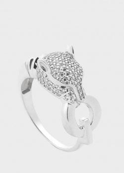Золотое кольцо Пантера с белыми фианитами, фото