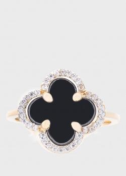 Кольцо Оникс с черным ониксом, фото