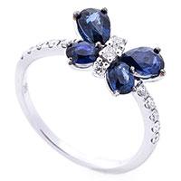 Кольцо Бабочка с синими сапфирами, фото