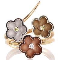 Золотое кольцо Roberto Bravo Kareena с пастельными цветами и бриллиантами, фото