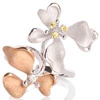 Кольцо Roberto Bravo Kareena с двумя цветками маттиолы и драгоценными камнями, фото