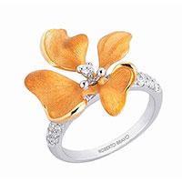Кольцо Roberto Bravo Kareena с золотым цветком , фото