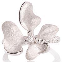 Кольцо Roberto Bravo Kareena с серебристым цветком маттиолы и бриллиантами, фото