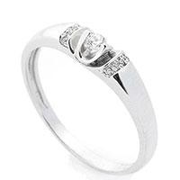 Женское золотое кольцо с белыми бриллиантами, фото
