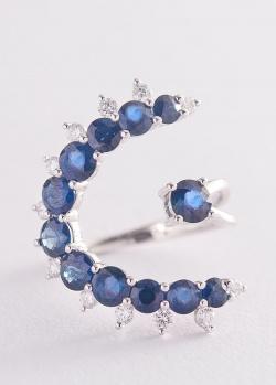 Золотое кольцо с синими сапфирами и бриллиантами, фото