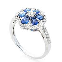 Женское кольцо Цветок с сапфирами и бриллиантами, фото