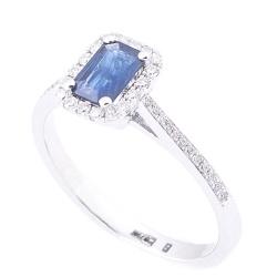 Кольцо Оникс с синим сапфиром и бриллиантами, фото