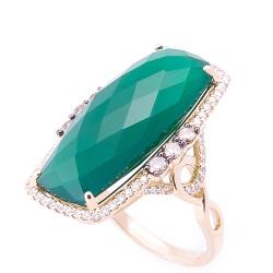 Коктейльное кольцо с агатом и бриллиантами, фото