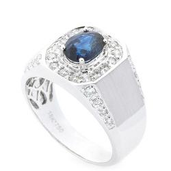 Кольцо-печатка с синим сапфиром и бриллиантами, фото