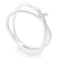Двойное кольцо Оникс с крестиком, фото