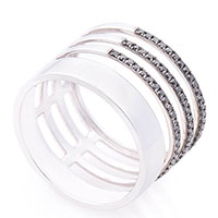 Широкое кольцо Оникс с черными бриллиантами, фото
