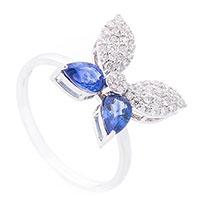 Кольцо Бабочка в сапфирах и бриллиантах, фото
