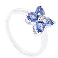 Женское кольцо Клевер с сапфирами и бриллиантом, фото