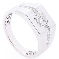 Кольцо-печатка с белыми бриллиантами, фото