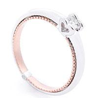 Помолвочное кольцо из белого и красного золота, фото
