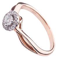 Кольцо из красного золота Оникс с бриллиантами, фото