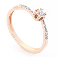 Помолвочное кольцо Оникс из красного золота, фото