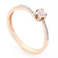 Помолвочное кольцо из красного золота, фото