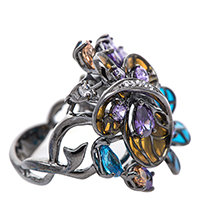 Серебряное кольцо 935 by Roberto Bravo с фианитами, фото