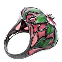 Кольцо 935 by Roberto Bravo покрытое цветочной эмалью, фото