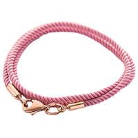 Шелковый розовый шнурок с золотой гладкой застежкой, фото