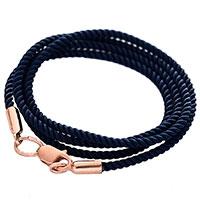 Шелковый синий шнурок с золотой застежкой, фото