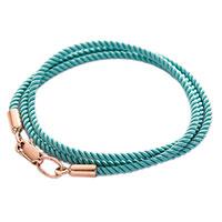 Голубой шнурок из шелка с золотой застежкой, фото