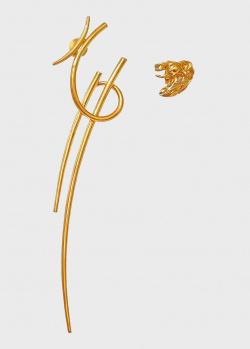 Асимметричные серьги Misho Katana Ni с позолотой, фото
