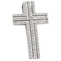 Крестик из белого золота с бриллиантовой россыпью, фото