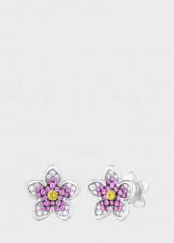 Серьги Art Vivace Jewelry Сирень с розовым сапфиром, фото
