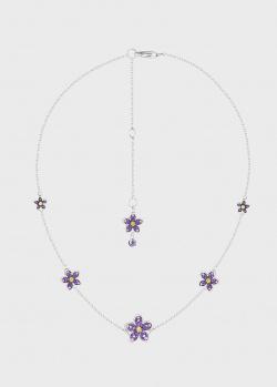 Колье Art Vivace Jewelry Сирень с сапфирами розовым и желтым, фото