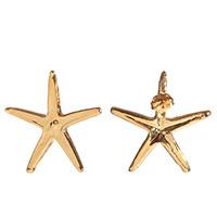 Серьги-гвоздики Ester Bijoux с морской звездой в позолоте, фото